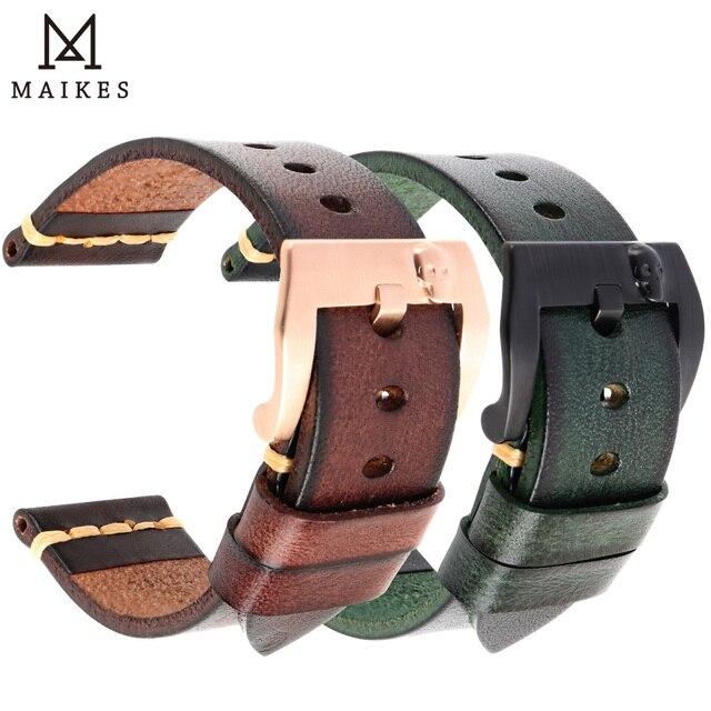 MAIKES Handmade włoska skóra zegarek pasek 18mm 19mm 20mm 21mm 22mm 24mm zegarek w starym stylu pasek dla Panerai Omega IWC Watchband