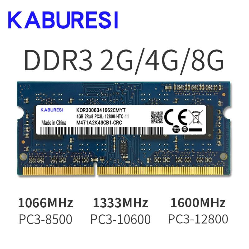 Kabures Brand New Sealed DDR3 2GB 4GB 1066mhz 1333 1600 PC3-12800/8500/10600 Laptop RAM Memory /Lifetime warranty  Free Shipping