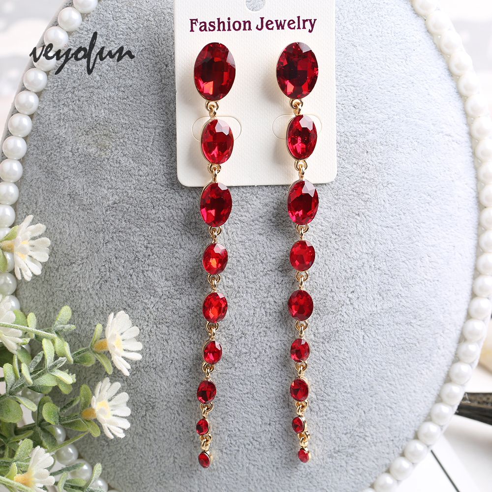 Veyofun Fashion Accessories Long ZA Crystal Dangle Earings for Women Trendy Drop Earrings Jewelry Gift 2019 New