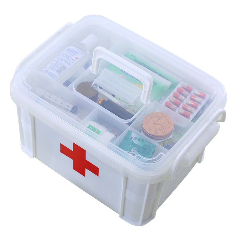 Wozhiwo Large Size Home First Aid Kit Multilayer Plastic Family Medicine Box Children Small Medical Medicine Box Household Whole
