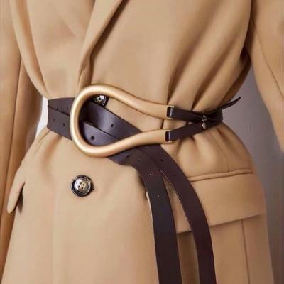 NEW Genuine Leather Double Belts Luxury Metal U Buckle Belt Women Girls Retro Vintage Large Belt For Coat Jeans Black White
