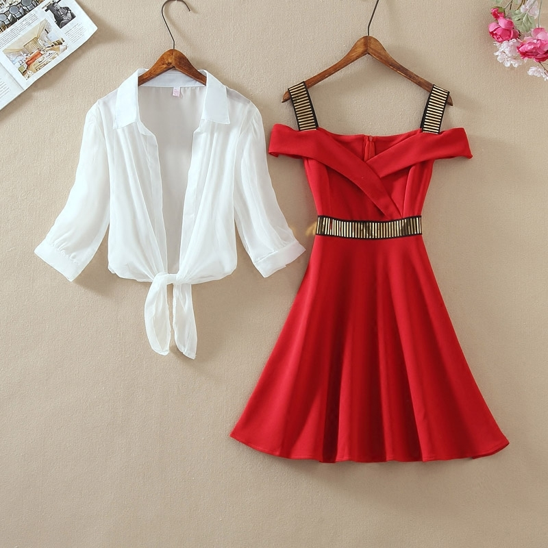 Fashion Women Puff Sleeve Kimono Chiffon Shirt Top + Mini Short A Line Sequined Ruffle Spaghetti Strap Dress New Two Pieces Sets