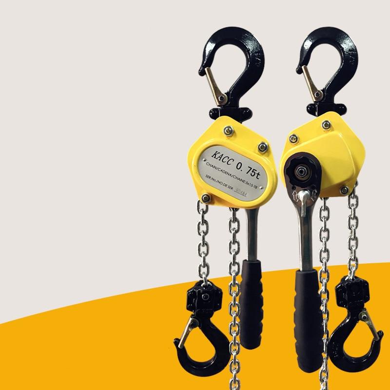 KACC Mini Hand Chain Hoist Hook Mount 0.25/0.5 Ton Capacity 3Meter Lift CE Certificate Portable Manual Lever Block Lifting