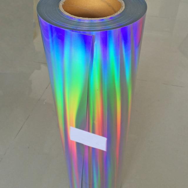 "Free shipping 1 sheet 10""x20""/25cmx50cm Laser Heat Transfer Vinyl Hologram Rainbow PVC Press Tshirt Iron On HTV Film"