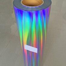 """Ücretsiz kargo 1 levha 10 """"x 20""""/25cm x 50cm lazer ısı transferi vinil Hologram gökkuşağı PVC basın Tshirt demir On HTV filmi"""