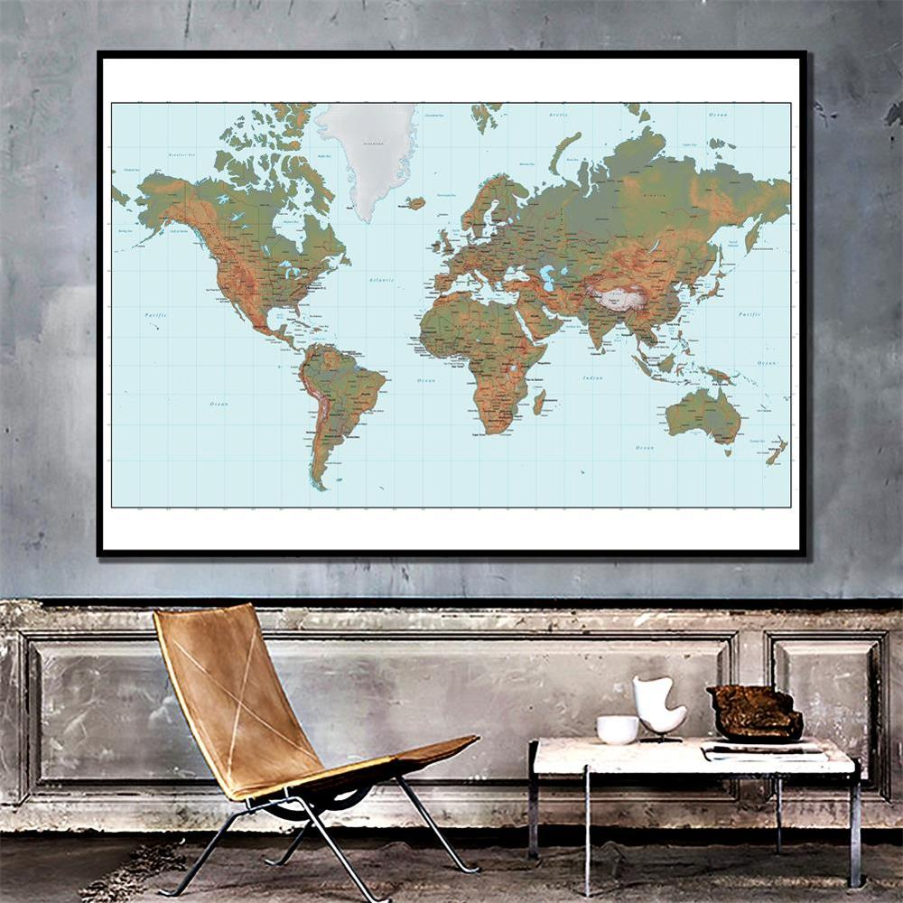 150x100cm Non-woven Waterproof World Map Without National Flag For Culture