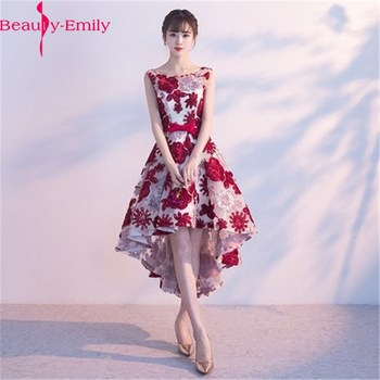 Fashion Hi Low Evening Dresses Appliques A-Line O Neck Sleeveless Tulle Elegant Burgundy Formal Party Dresses