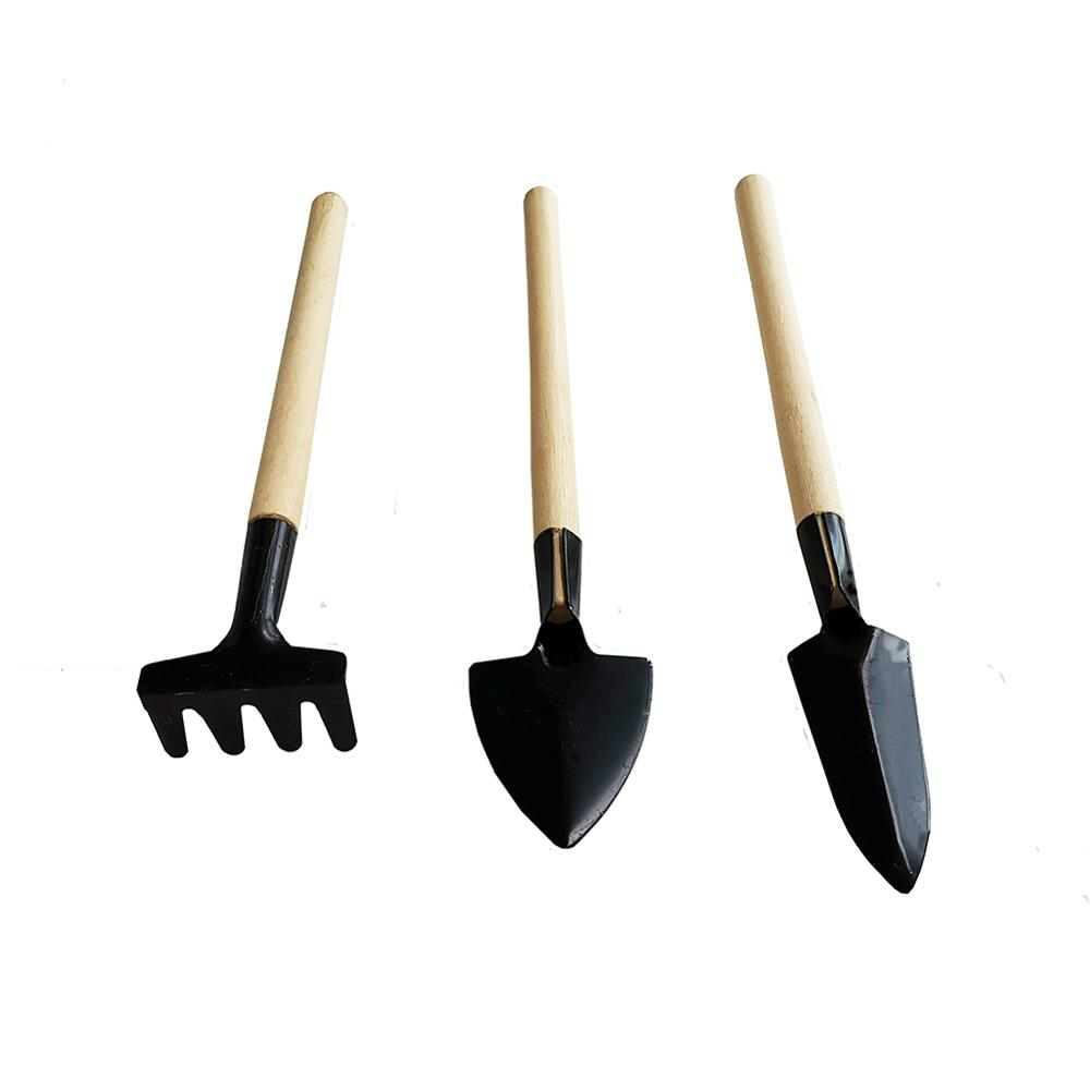 1 Set Gardening Tool Small Shovel Rake Spade Home Potted Plants Mini Digging Tool Wood Handle Metal Head