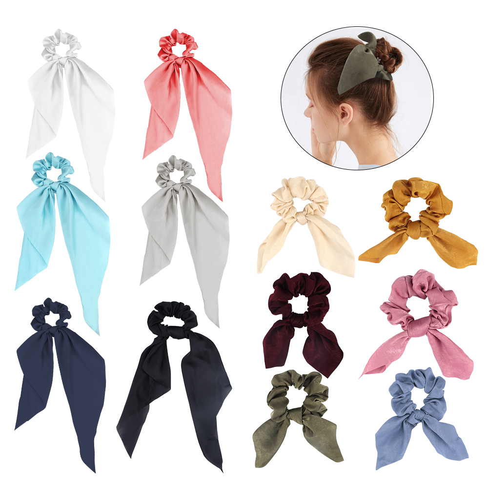 12 Pcs Scrunchies for Hair Bow Satin Scarf Women Bunny Ear Silk