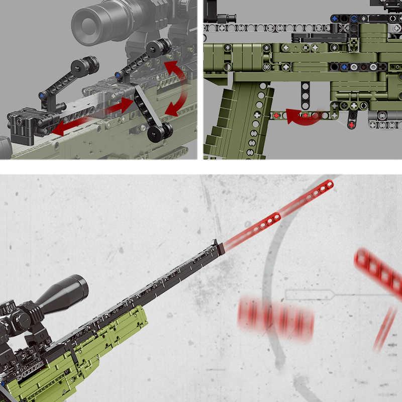 Nuevo Modelo de pistola de Rifle de francotirador AWM 1491 Uds., la técnica de bloques de construcción, armas de bloques PUBG, armas militares SWAT, Juguetes