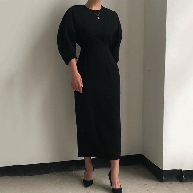 Sister Fara New Spring Elegant O-Neck Dress Ladies Office Fashion Sexy Solid Dress Women Autumn Slim Midi Dress Vestidos OL 2021 6