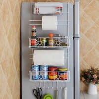 Rack de geladeira prateleira lateral suporte de cozinha multifuncional organizador doméstico multi-camada geladeira armazenamento suportes