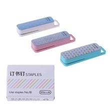 1 Set Manual Mini Stapler 3 Color Staplers Set Stationery School Office Supplies M17F
