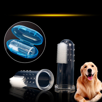 Pet Supplies Super Soft Finger Brush Pet Toothbrush Teddy Dog Brush Bad Breath Tartar Teeth Tool Dog Cat Cleaning Supplies image