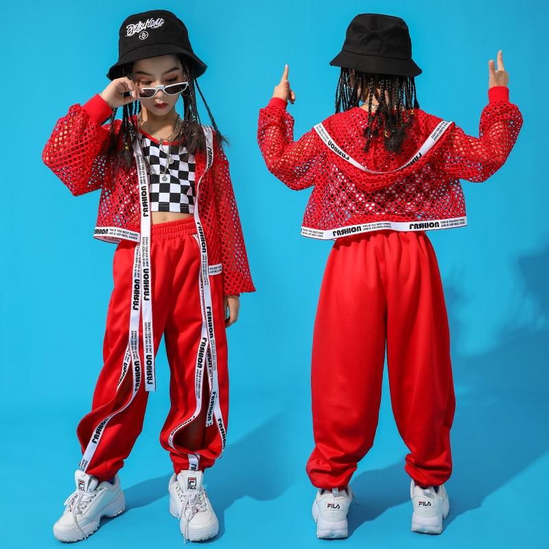 Red-Hip-Hop-Dance-Costume-Kids-Jazz-Dance-Clothing-Girls-Suit-Vest-Coat-Pant-New-Performance (4)