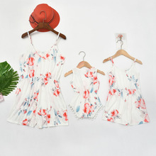 Family Look Mother Daughter Dresses Mommy And Me Clothes Flower Mom Mum Mama And Baby Girls Rompers Family Matching Outfits недорого