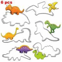 3d dinossauro biscoitos cortador molde dinossauro/número/quebra-cabeça cortador de biscoito dino biscoito pastelaria doces aço cozimento molde conjunto