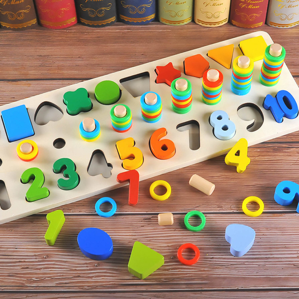 Besegad Kids 3D Wooden Number Shape Math Matching Puzzle Jigsaw Board Geometric Sorter Stacking Counting Board Montessori Toy