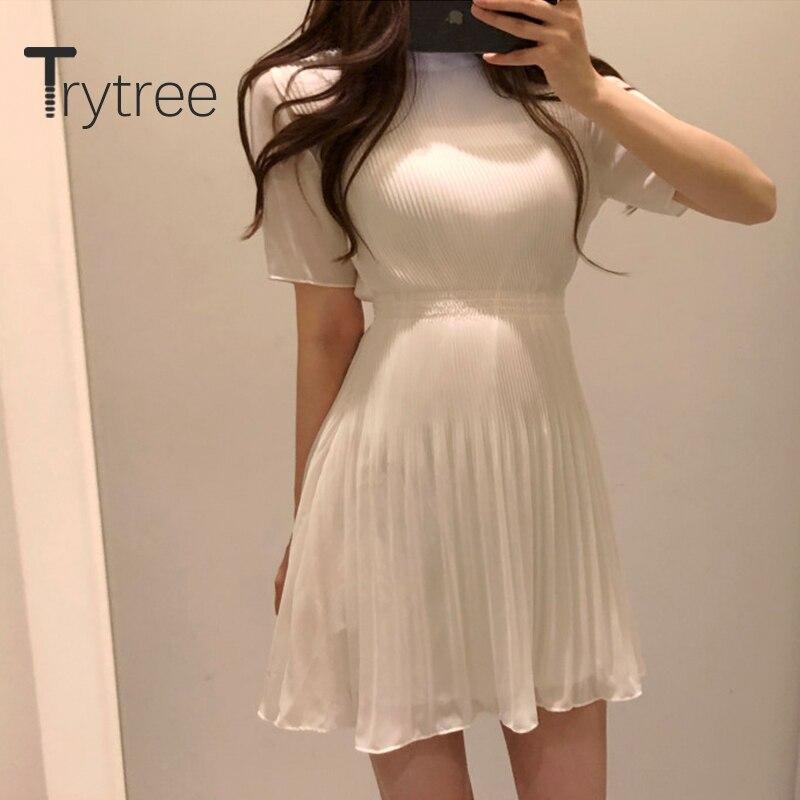 Trytree 2020 летнее платье, женское Повседневное платье с О образным вырезом, приталенное ТРАПЕЦИЕВИДНОЕ ПЛАТЬЕ, модное элегантное однотонное Плиссированное мини платье 3 цветов|Платья|   | АлиЭкспресс