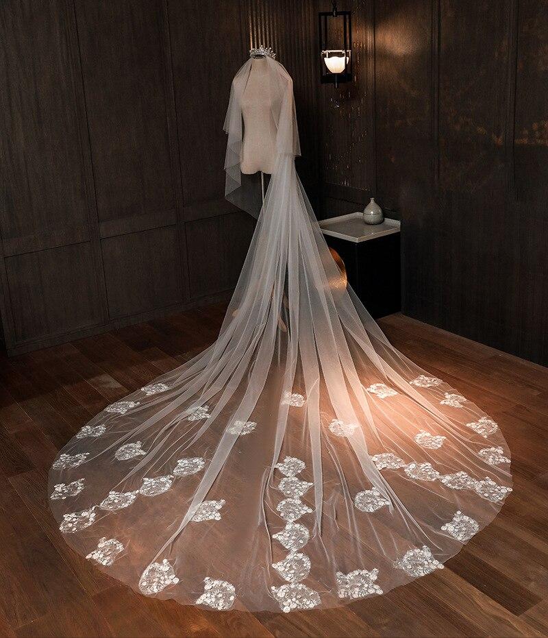 Свадебная вуаль 3 метра Длинная фата для невесты Шампанская аппликация один слой Свадебные аксессуары в наличии 2020