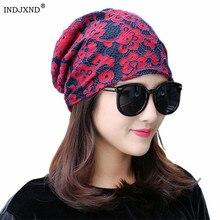 INDJXND, кружевной платок,, осень, зима, шапка для девушек, месяц, ворс, шапка s, женские шляпы для химиотерапии, хлопок, жаккард, шапочки