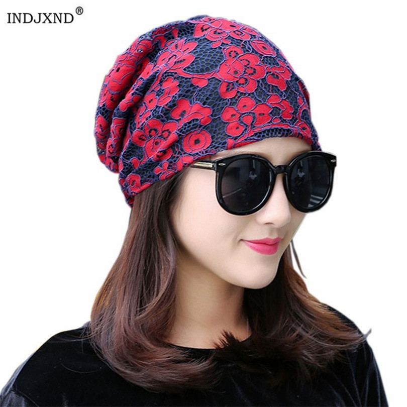 INDJXND Lace Headscarf 2019 Autumn Winter Cap Ladies Month Pile Heap Caps Women Chemotherapy Hat Cotton Jacquard   Beanies   Hats
