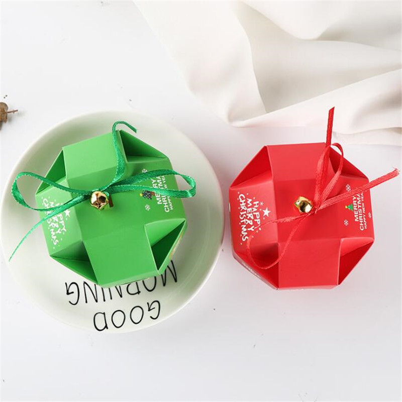 20Pcs/Lot Jewelry Boxes And Packaging Candy Box Wedding Gift Santa Claus With Ribbon Bell Birthday Christmas Decorations Present - 2