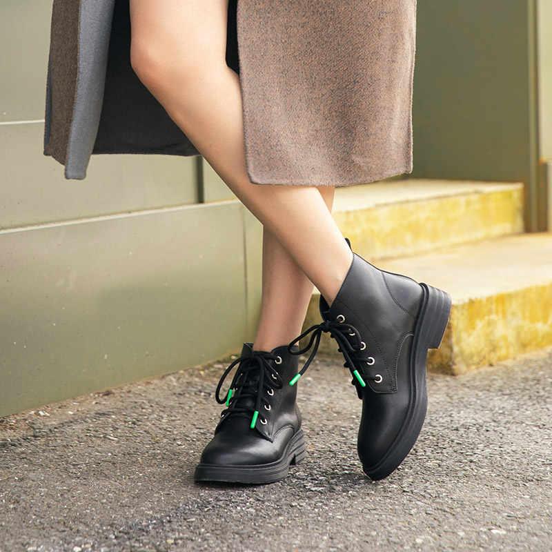 BeauToday yarım çizmeler kadın hakiki inek deri dantel-up yuvarlak ayak platformu moda bayan kış ayakkabı el yapımı 03618