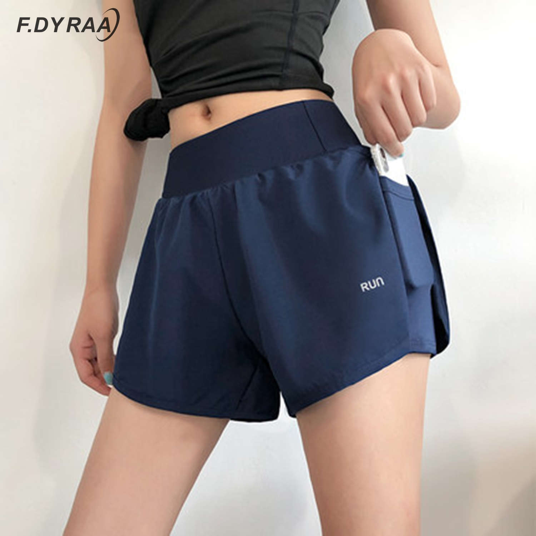 F.DYRAA Women 2 In 1 Running Shorts Elastic Waist Pocket Tight Yoga Short Woman Sports Shorts Pink Gym Fitness Shorts Sportswear