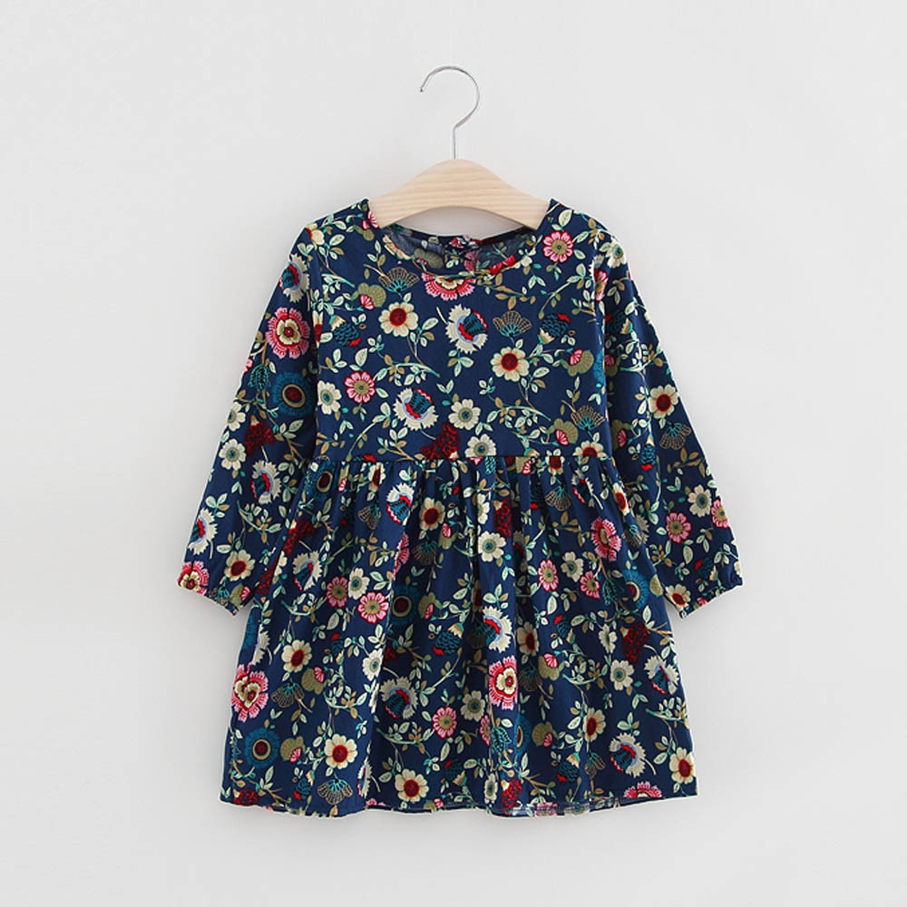 Toddler Baby Girls Kids Autumn Clothes Floral Long Sleeve Princess Party Dress