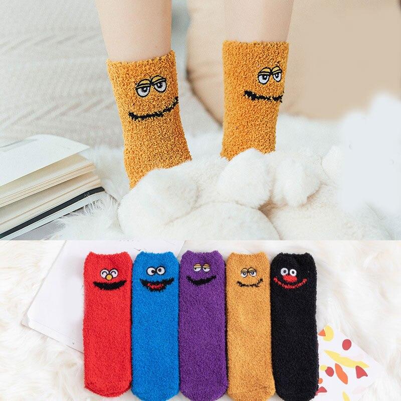 Funny Women Socks Coral Fleece Floor Socks Thick Half Velvet Towel Socks Sleep Mid-Tube Socks 1 Pair Christmas Gifts for Girls