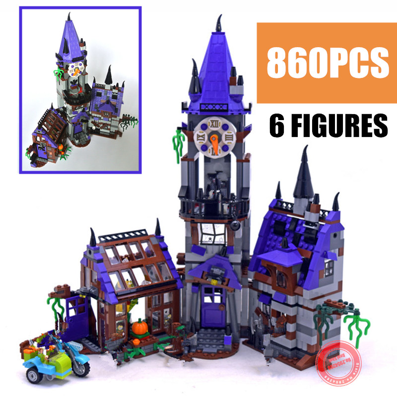 New Mystery Castle House Courtyard Mansion Fit Legoings Scooby Doo Figures Friends City Building Block Bircks Diy Gift Kid Toy