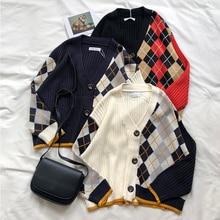 3 색 2019 봄과 가을 한국어 스타일 컬러 패치 워크 V 목 체크 무늬 knittd 카디 건 여자 스웨터 여자 (X180)