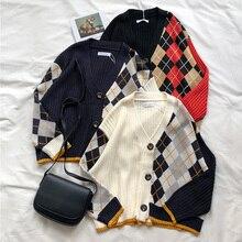 3 farben 2019 frühling und herbst koreanische stil farbe patchwork V neck plaid knittd strickjacken frauen pullover frauen (X180)