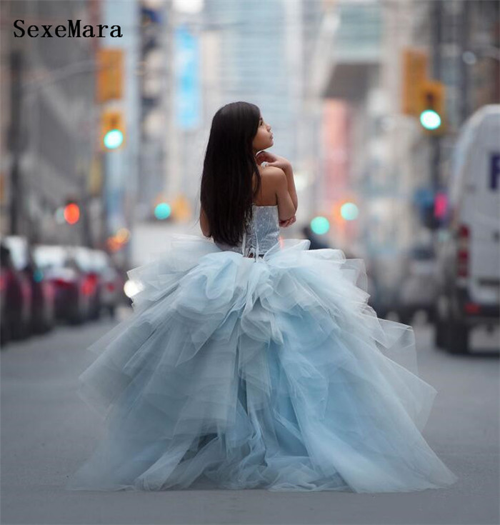 Luxury Sky Blue   Girls   Clothes Puffy Tulle Pearls   Girls   Pageant Gown   Flower     Girl     Dress   for Party Birthday Pageant Gown