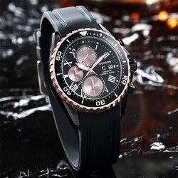 Fashion Trend Three Eyes Six Hands Roman Numerals Quartz Men's Watch