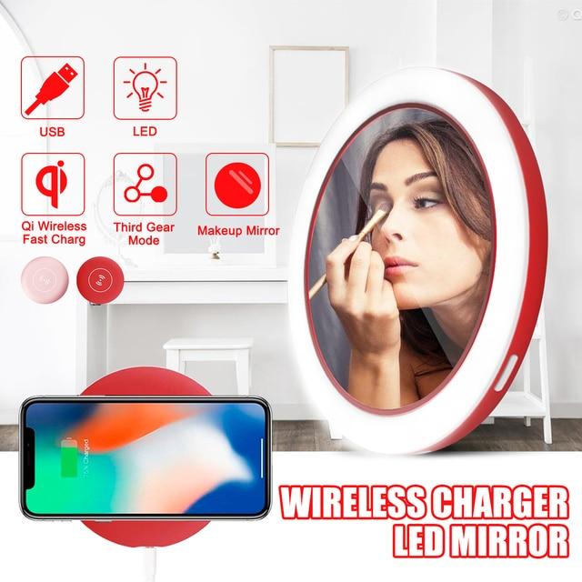 Portable LED Lighted Mini Circular Makeup Mirror Compact Travel Sensing Lighting Cosmetic Mirror Wireless USB Charging 2