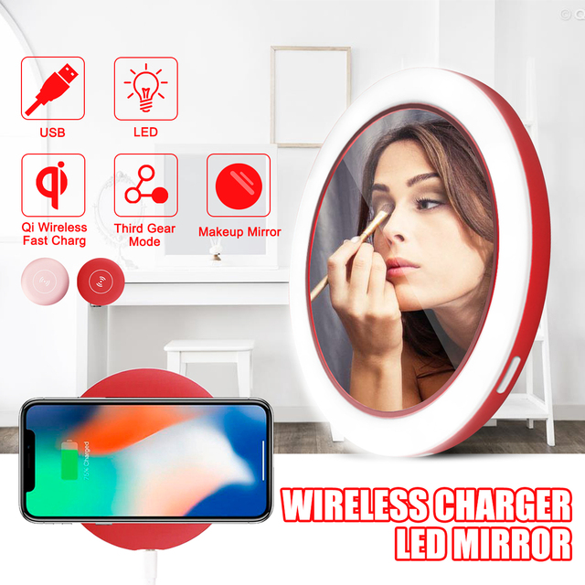 Portable LED Light Makeup Mirror Compact Travel Wireless USB Charging
