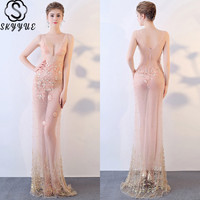 Skkyue V Neck Pearls Perspective Dress Backless Women Party Dresses Sleeveless Evening Gowns 2019 Embroidery Robe De Soiree H011