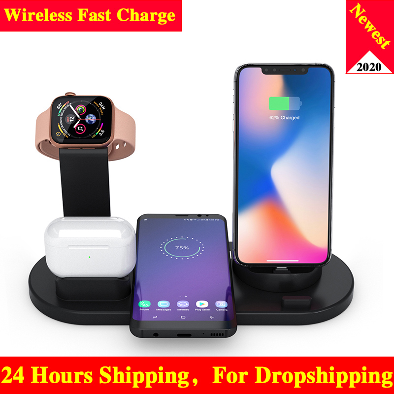 10W Qi Wireless Charger Dock Station 4 in 1 wireless charging wireless chargers phone carregadores sem fio cargador inalambrico(China)