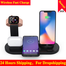 10W Qi Wireless Charger Dock Station 4 In 1 Nirkabel Pengisian Charger Wireless Telepon Carregadores Sem Fio Cargador Inalambrico(China)