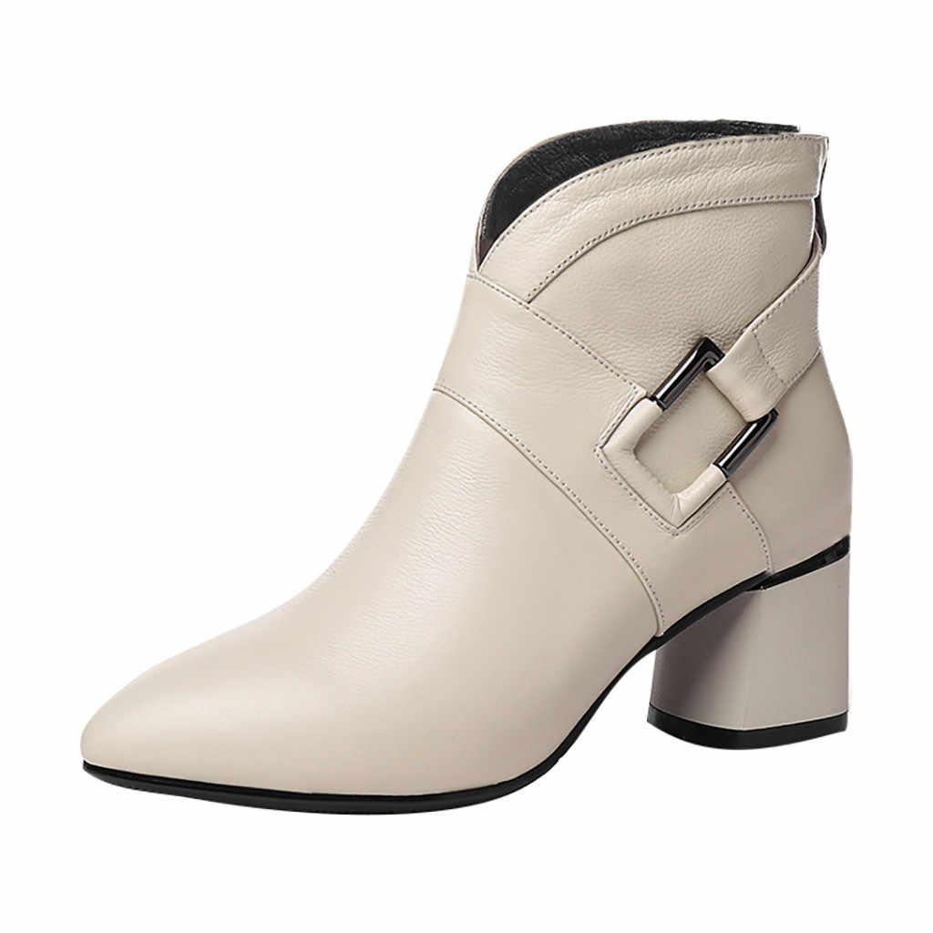 Toka askı deri kışlık botlar kadın moda kadınlar fermuar katı renk Metal dekorasyon kare topuk ayakkabı kadın parti botları