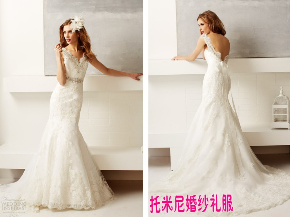 Backless Lace Mermaid Wedding Dress Crystal Sashes 2015 Vestido De Novia Beading Bridal Birde Gown Appliques Sexy Casamento