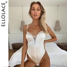 Ellolace Sexy Lace Up Bodysuit Women Rompers White Bodycon Overalls Female Body Solid Sertin Milk 2019 New Bodys