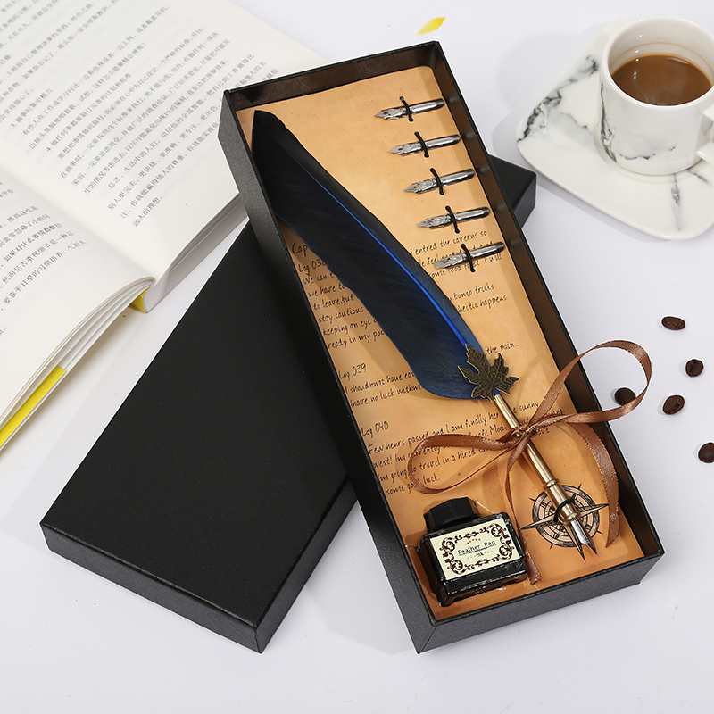 European retro top feather pen wedding ceremony Christmas gift must be customizable gift box set in Fountain Pens from Office School Supplies