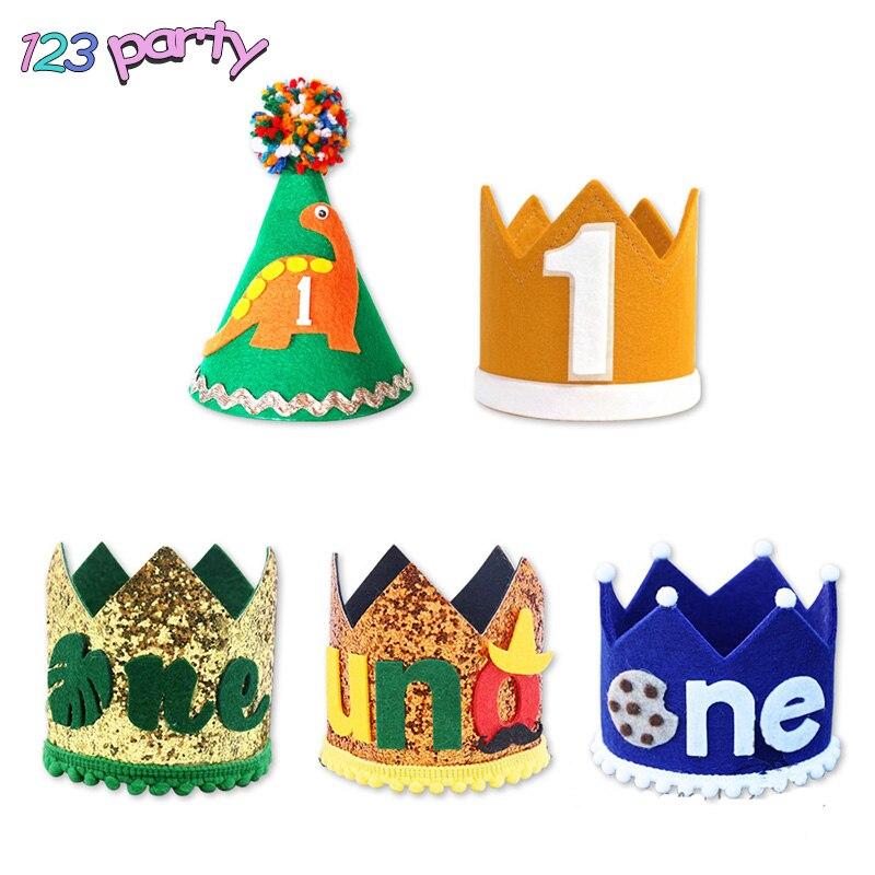 Украшение для детской шапки на день рождения, украшение для первого дня рождения ребенка, шапка динозавра, баннер, товары для вечеринки в че...