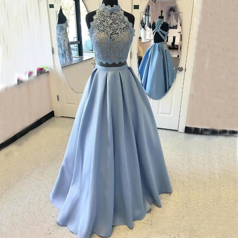 New Stunning   Prom     Dress   Two Pieces High Neck Sleeveless Long Satin Formal Evening Gowns Custom Made Pageant Gowns For Ladies