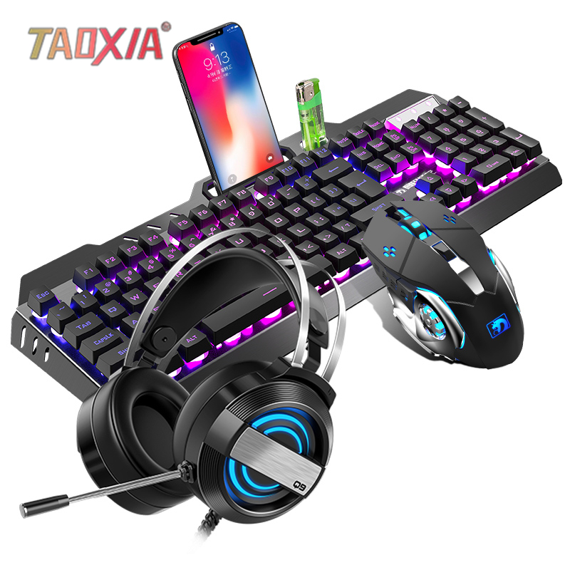 Mechanical Keyboard And Mouse Headset Three-piece Suit Desktop Computer Notebook Gaming Peripherals Home Internet Cafes E-sports image