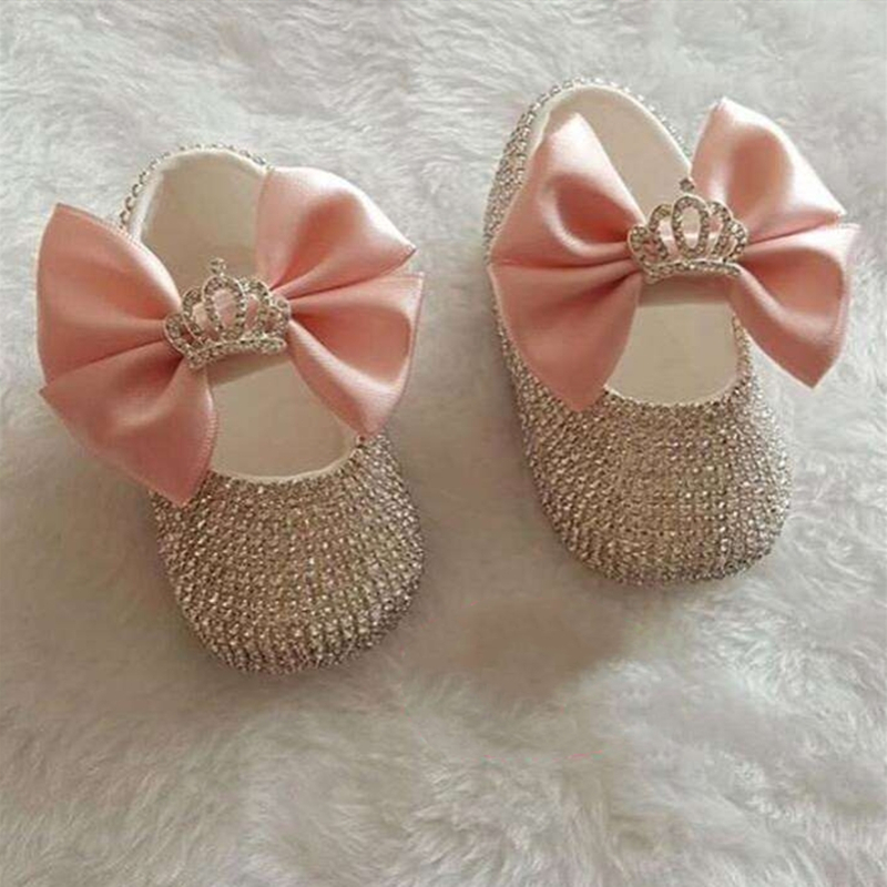 Bling Newborn Bridal Wedding Flower Dazzling Gorgeous Rhinestones Accept Picture Handmade Custom Fancy Pearls Baby Shoes