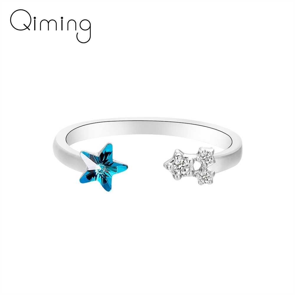 Серебряно-голубой кубический циркониевый Кристал кольца звезда открытый палец регулируемое кольцо для женщин обручальные ювелирные изделия Рождественский подарок
